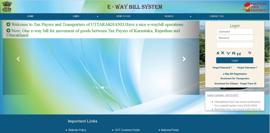 Login e-way bill